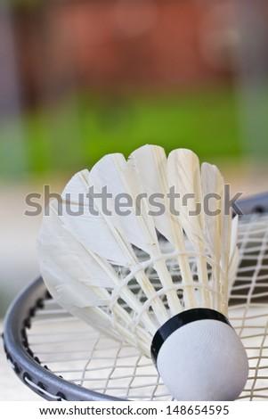Badminton rackets and shuttlecock isolated  - stock photo