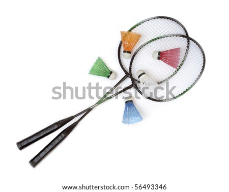 Badminton rackets with color shuttlecocks - stock photo