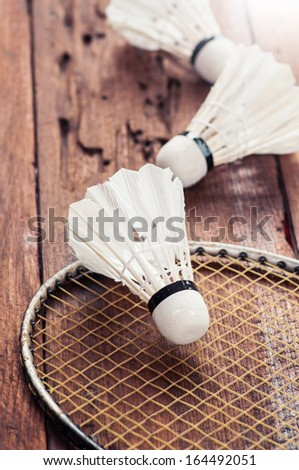 Badminton racquet and shuttlecock  - stock photo