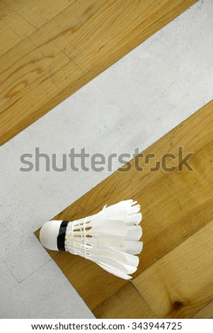 Badminton shuttlecock on court floor