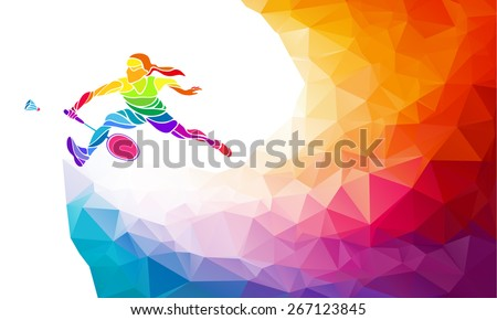 Badminton sport invitation poster or flyer background with empty space, banner template in trendy abstract colorful polygon style. Female badminton player. Vector illustration - stock photo