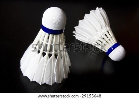 badminton sports team play black underground white - stock photo