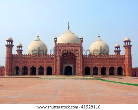 Badshahi Mosque (King's Mosque) is one of the famous landmark in Pakistan visited by the tourists and travellers located in the city of Lahore. - stock photo