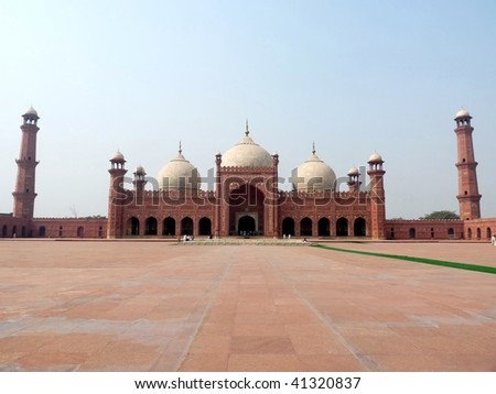Badshahi Mosque Lahore, Pakistan One of the most famous landmarks of Pakistan built in 16th century is also one of the largest mosques in the world. - stock photo