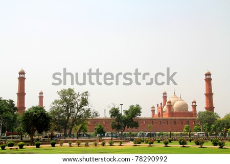 Badshahi Mosuqe Exterior - stock photo
