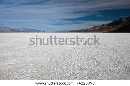 Badwater Basin, Death Valley National Park, California. Badwater Basin is the lowest point in North America, with an elevation of 282 ft (86 m) below sea level. - stock photo