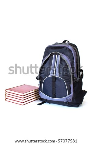 Bag and Books isolated on white background