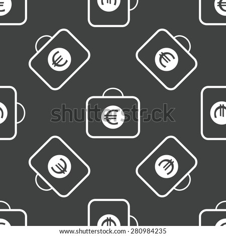 Bag and euro symbol on it, repeated on grey background - stock photo