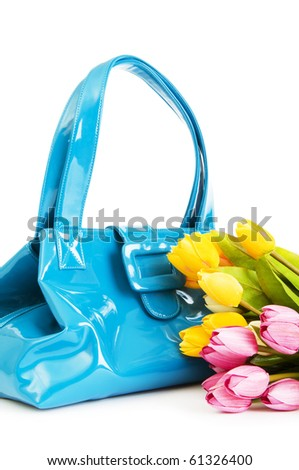 Bag and flowers isolated on the white background