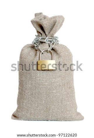 Bag closed on the lock on a white background. - stock photo