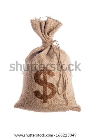 Bag filled with money - stock photo
