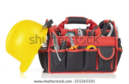 Bag filled with tools - stock photo