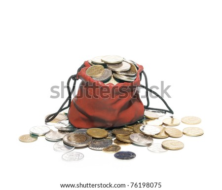 Bag for coins isolated on white background - stock photo