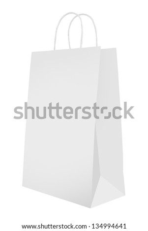 Bag for shopping isolated on white - stock photo