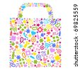 Bag For Shopping With Icons, Isolated On White Background - stock vector