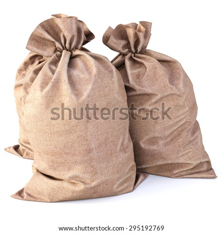 Bag from a sacking isolated on a white background. - stock photo