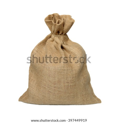 Bag from a sacking isolated on a white background.