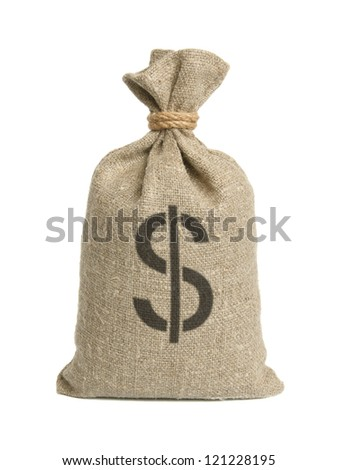 Bag from a sacking with dollars isolated on a white background. - stock photo