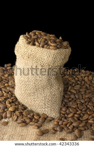 Bag from coffee isolated on black background - stock photo
