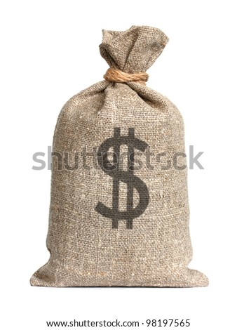 Bag from Dollars isolated on a white background. - stock photo