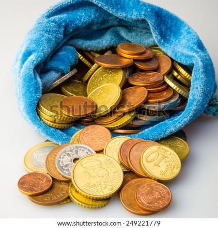 bag full of euro money - stock photo