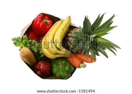 Bag full of groceries from above - stock photo