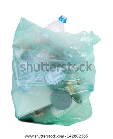 Bag full of rubbish isolated on white background