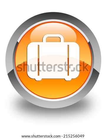 Bag icon glossy orange round button - stock photo