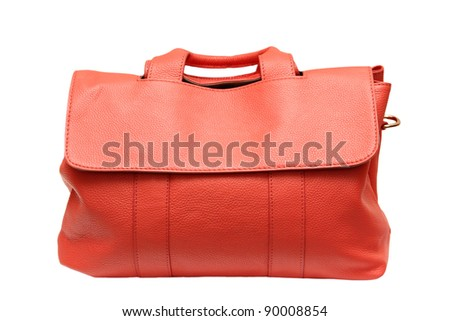 Bag ladies, leather, red on white background