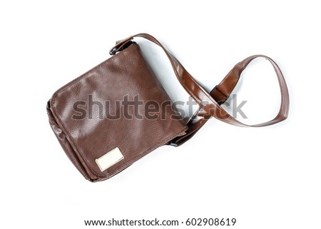bag leather brown old on white background.