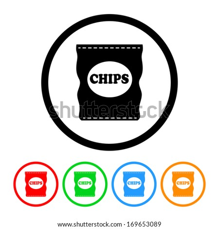 Bag of Chips Icon with Color Variations.  Raster version. - stock photo