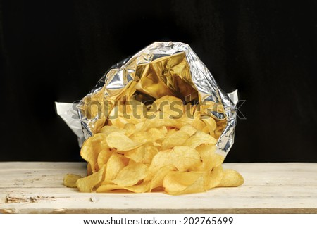 bag of chips potatoes - stock photo