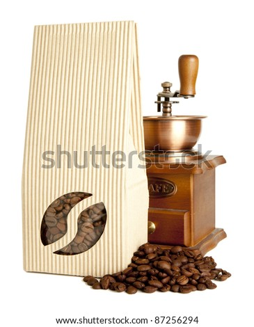 Bag of coffee beans & Coffee mill