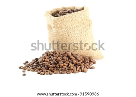 bag of coffee beans on white background