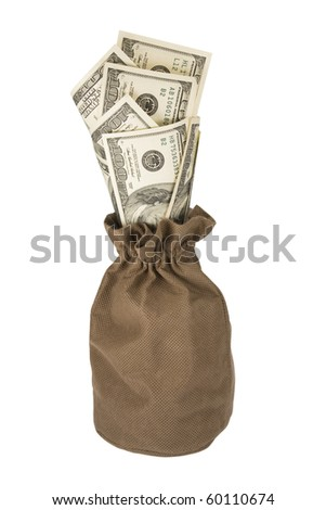 Bag of dollars. Isolated on white background.  Stack of money. - stock photo