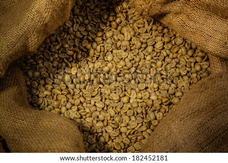 bag of green coffee  - stock photo