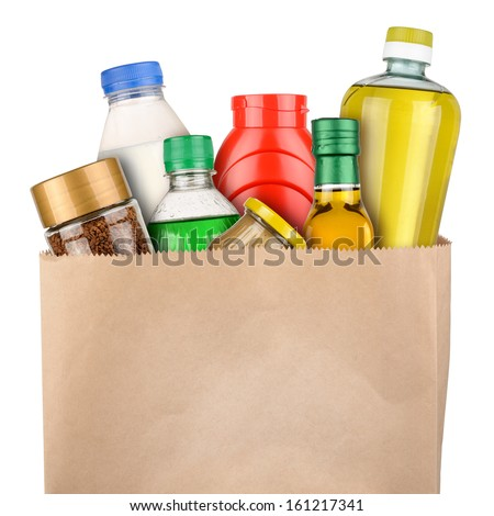Bag of groceries isolated on white background - stock photo