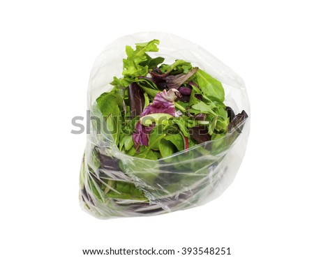 Bag of healthy fresh spring salad