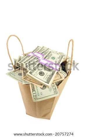 Bag of Money Isolated on a White Background. - stock photo