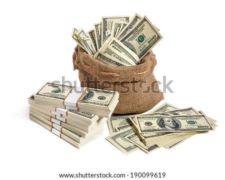 Bag of money / studio photography of bag with hundred dollar bills  - stock photo