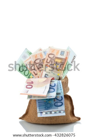 Bag of money with different euro bills isolated in studio shot on white background. have clipping path. - stock photo