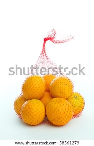Bag of oranges - stock photo