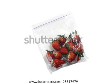 Bag of Organic Strawberries - stock photo