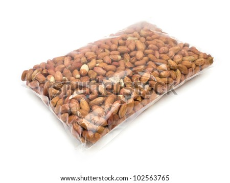 Bag of peanuts on white background - stock photo