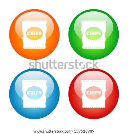 Bag of Potato Chips Icon Glass Button Icon Set.  Raster version. - stock photo