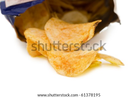 Bag of Potato Chips,isolated on white - stock photo
