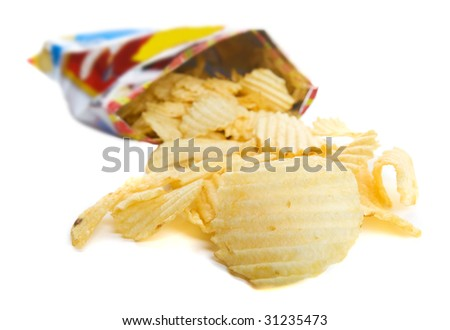 Bag of ripple chips on a white background - stock photo