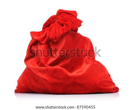 Bag of Santa Claus on white background - stock photo