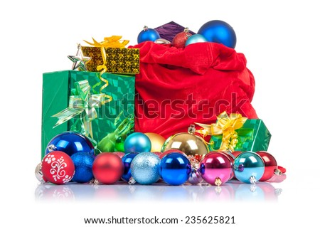 Bag of Santa Claus with gifts and Christmas toys.  - stock photo