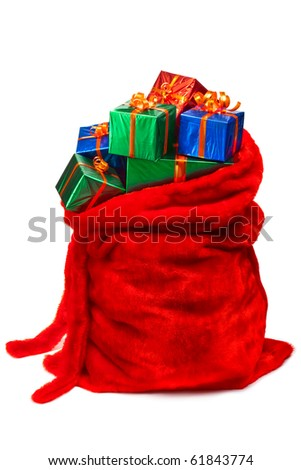 Bag of Santa Claus with gifts. Isolated on white. - stock photo